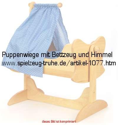 puppenwiege mit bettzeug und himmel in puppen und puppenm bel puppenm bel. Black Bedroom Furniture Sets. Home Design Ideas