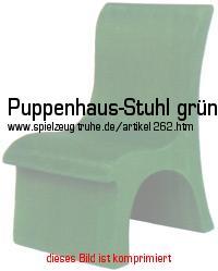 Puppenhausstuhl Aus Grün Gefärbtem Massivem Holz